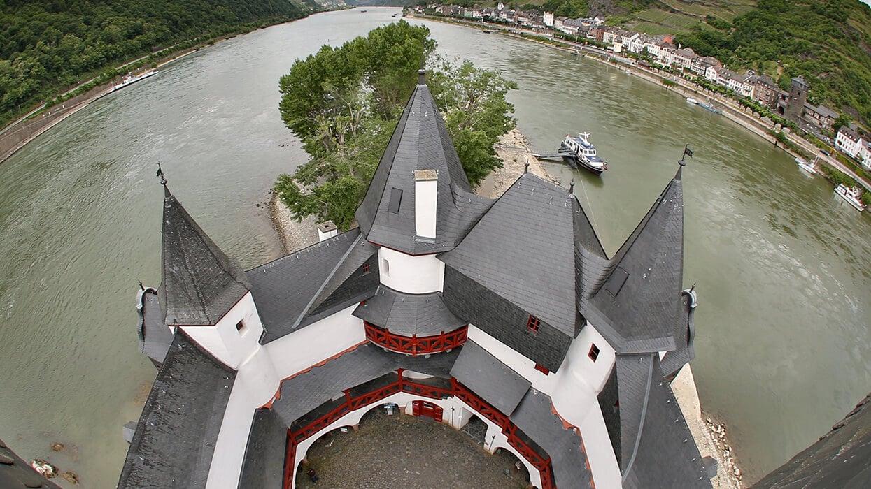 Vogelperspektive der Burg Rheingrafenstein